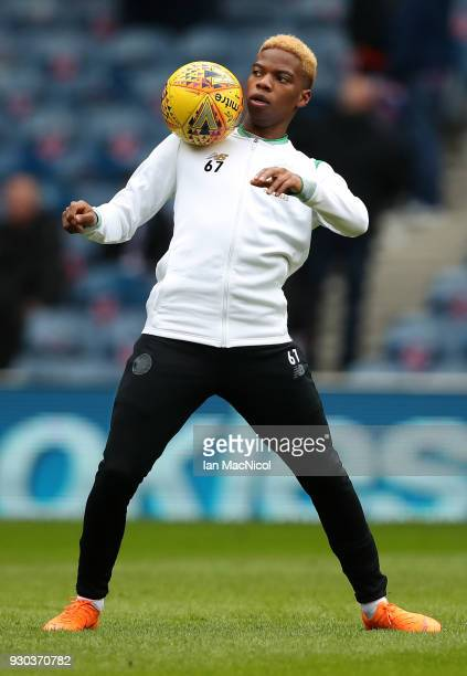 Charly Musonda of Celtic warms up prior to the Ladbrokes Scottish Premiership match between Rangers and Celtic at Ibrox Stadium on March 11 2018 in...