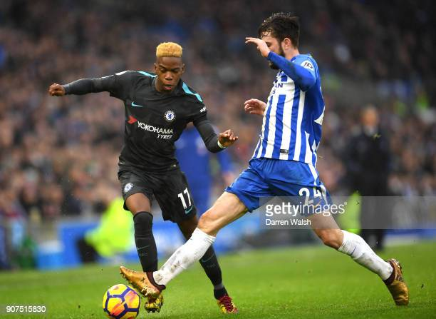 Charly Musonda of Chelsea attempts to get past Davy Propper of Brighton and Hove Albion during the Premier League match between Brighton and Hove...