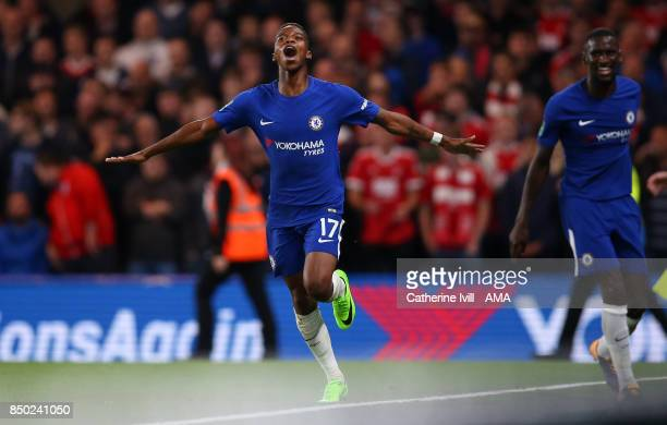 Charly Musonda of Chelsea celebrates after he scores a goal to make it 30 during the Carabao Cup Third Round match between Chelsea and Nottingham...