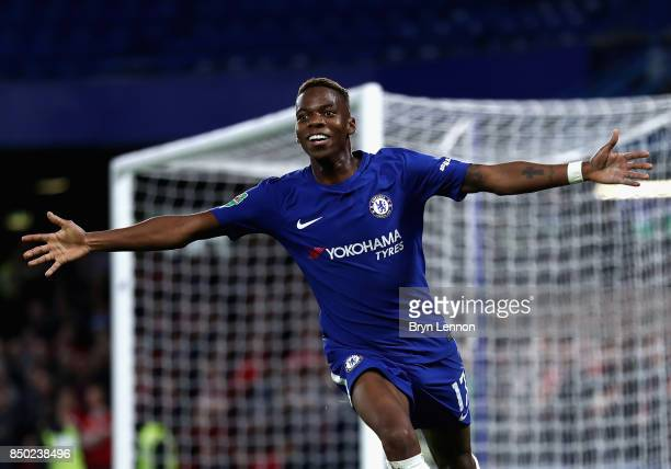 Charly Musonda of Chelsea celebrates after scoring during the Carabao Cup Third Round match between Chelsea and Nottingham Forest at Stamford Bridge...