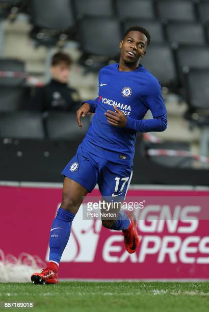 Charly Musonda of Chelsea celebrates after scoring his sides fourth goal during the Checkatrade Trophy Second Round match between Milton Keynes Dons...
