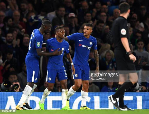 Charly Musonda of Chelsea celebrates scoring his sides third goal with Antonio Rudiger of Chelsea and Kenedy of Chelsea during the Carabao Cup Third...