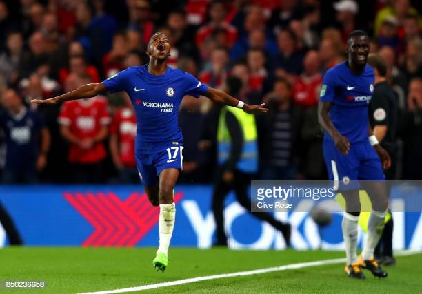 Charly Musonda of Chelsea celebrates scoring his sides third goal during the Carabao Cup Third Round match between Chelsea and Nottingham Forest at...