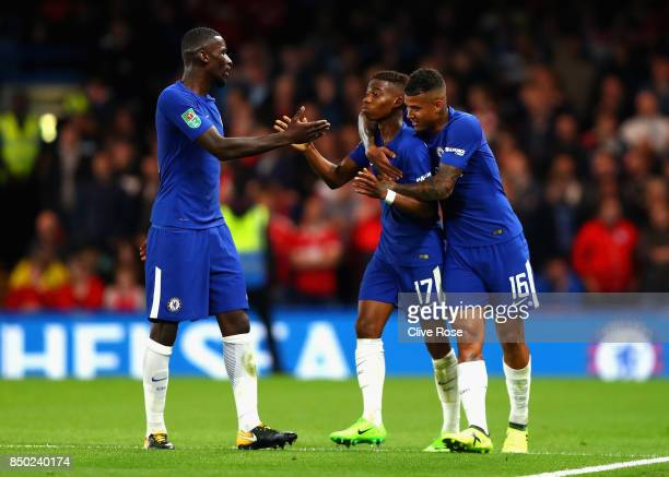 Charly Musonda of Chelsea celebrates scoring his sides third goal with Kenedy of Chelsea and Antonio Rudiger of Chelsea during the Carabao Cup Third...