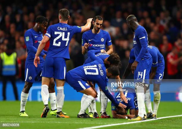 Charly Musonda of Chelsea celebrates scoring his sides third goal with his Chelsea team mates during the Carabao Cup Third Round match between...