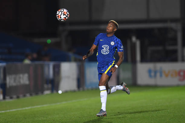 Charly Musonda of Chelsea chases the ball during the Premier League 2 match between Chelsea and Liverpool on September 24, 2021 in Kingston upon...