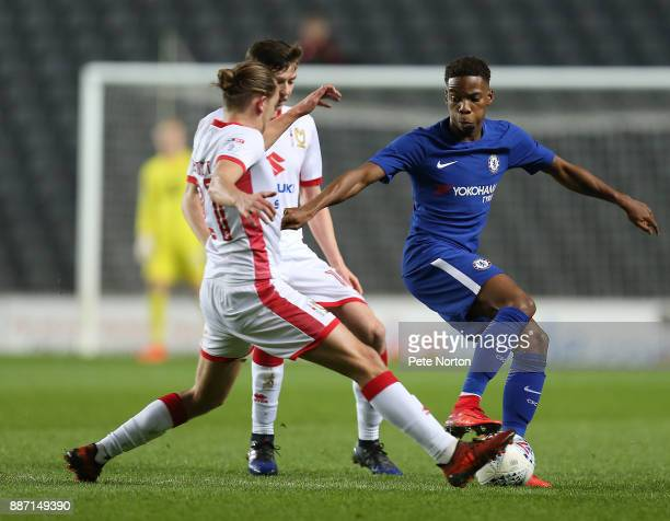 Charly Musonda of Chelsea controls the ball under pressure during the Checkatrade Trophy Second Round match between Milton Keynes Dons and Chelsea...