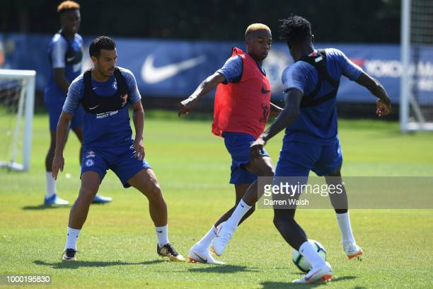 Charly Musonda of Chelsea during a training session at Chelsea Training Ground on July 16 2018 in Cobham England