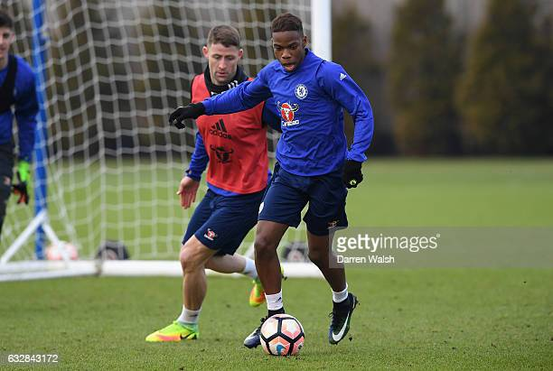 Charly Musonda of Chelsea during a training session at Chelsea Training Ground on January 27 2017 in Cobham England