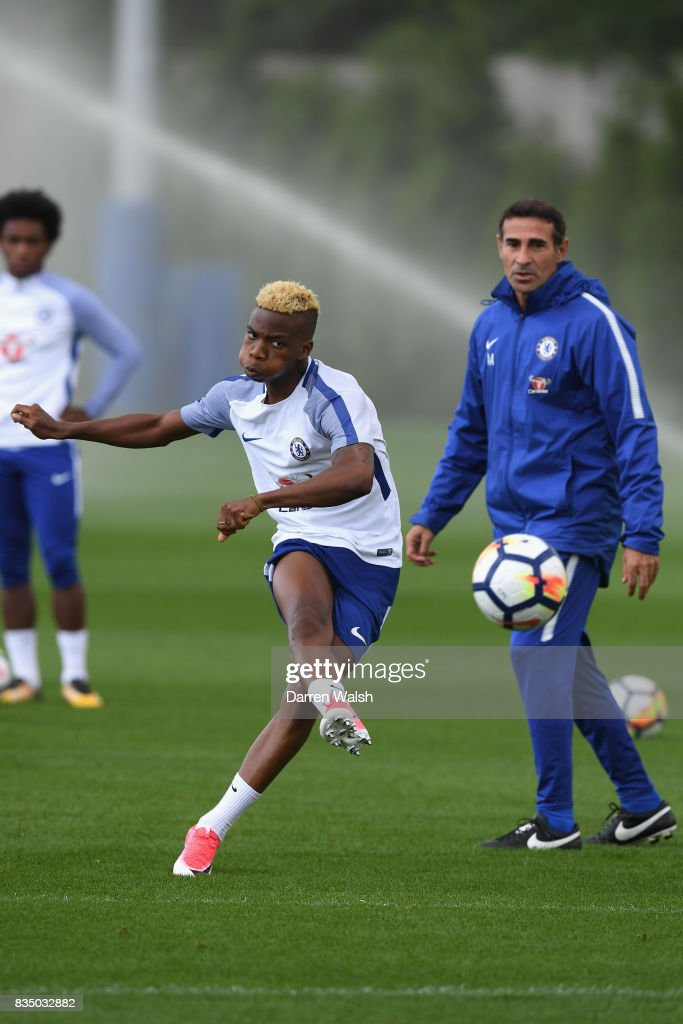 Charly Musonda of Chelsea during a training session at Chelsea Training Ground on August 18, 2017 in Cobham, England.