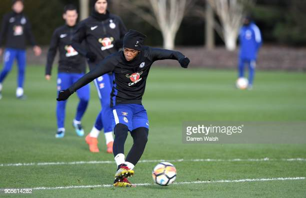 Charly Musonda of Chelsea during a training session at Chelsea Training Ground on January 16 2018 in Cobham England
