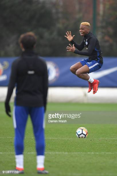 Charly Musonda of Chelsea during a training session at Chelsea Training Ground on January 26 2018 in Cobham England