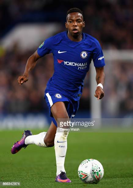 Charly Musonda of Chelsea in action during the Carabao Cup Fourth Round match between Chelsea and Everton at Stamford Bridge on October 25 2017 in...