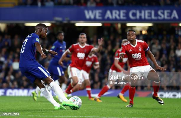 Charly Musonda of Chelsea scores his sides 3rd goal during the Carabao Cup Third Round match between Chelsea and Nottingham Forest at Stamford Bridge...