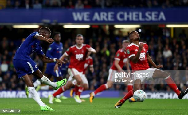 Charly Musonda of Chelsea scores his sides third goal during the Carabao Cup Third Round match between Chelsea and Nottingham Forest at Stamford...