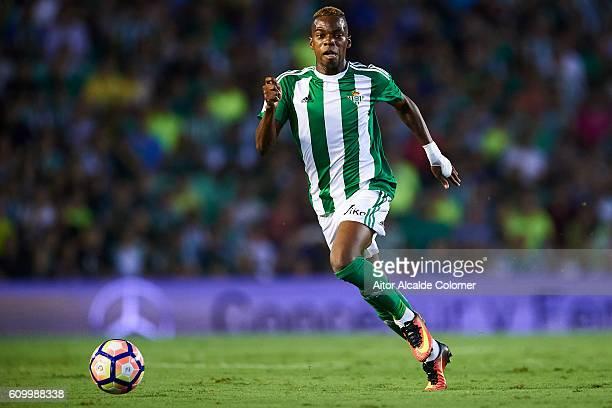 Charly Musonda of Real Betis Balompie in actionduring the match between Real Betis Balompie vs Malaga CF as part of La Liga at Benito Villamarin...