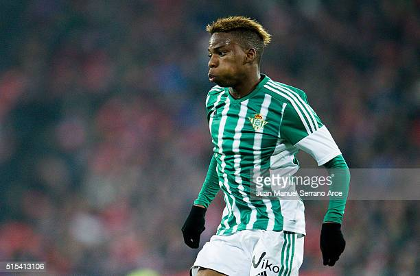 Charly Musonda of Real Betis Balompie reacts during the La Liga match between Athletic Club Bilbao and Real Betis Balompie at San Mames Stadium on...