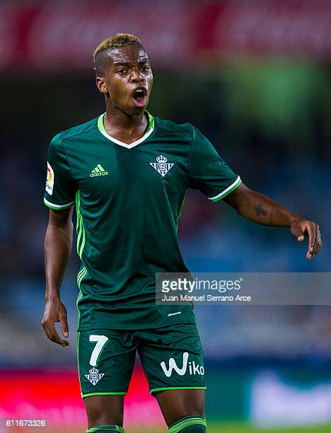 Charly Musonda of Real Betis reacts during the La Liga match between Real Sociedad de Futbol and Real Betis Balompie at Estadio Anoeta on September...