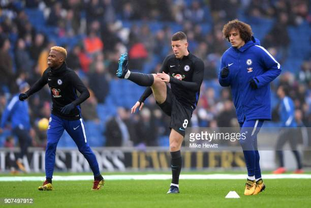 Charly Musonda Ross Barkley and David Luiz of Chelsea warm up prior to during the Premier League match between Brighton and Hove Albion and Chelsea...