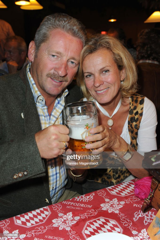 Charly Reichenwallner and Andrea L'Arronge attend the Oktoberfest beer festival at Hippodrom on September 22, 2012 in Munich, Germany.