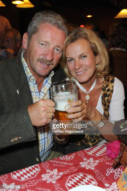 Charly Reichenwallner and Andrea L'Arronge attend the Oktoberfest beer festival at Hippodrom on September 22 2012 in Munich Germany