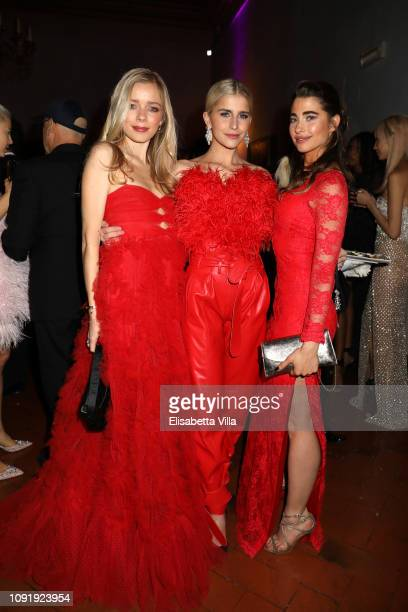 Charly Sturm, Caroline Daur and Ginevra Rossini attend LuisaViaRoma and Naked Heart Foundation Dinner on January 09, 2019 in Florence, Italy.