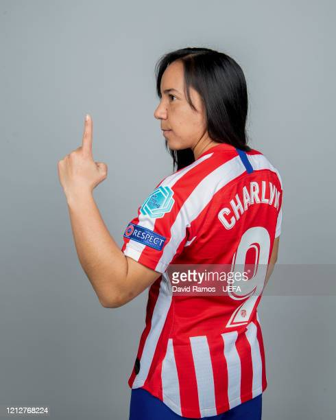 Charlyn Corral of Atletico Madrid poses during UEFA Women's Champions League Portrait Shoot on January 30, 2020 in Barcelona, Spain.