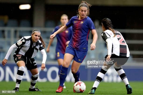 Charlyn Corral of Levante UD Women Gemma Gili Giner of FC Barcelona Women Greta Espinoza of Levante UD Women during the Iberdrola Women's First...