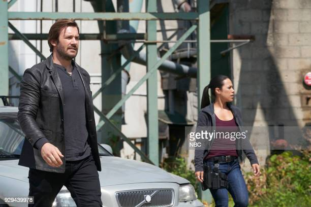 """Charm School"""" Episode 203 -- Pictured: Clive Standen as Bryan Mills, Jessica Camacho as Santana --"""
