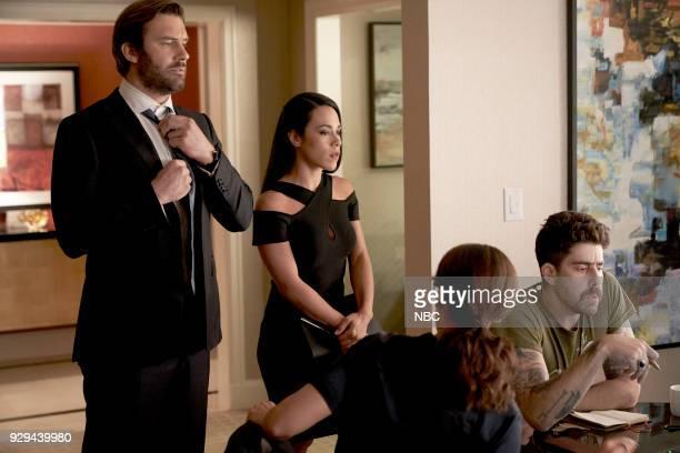 "Charm School"" Episode 203 -- Pictured: Clive Standen as Bryan Mills, Jessica Camacho as Santana, Adam Goldberg as Kilroy --"