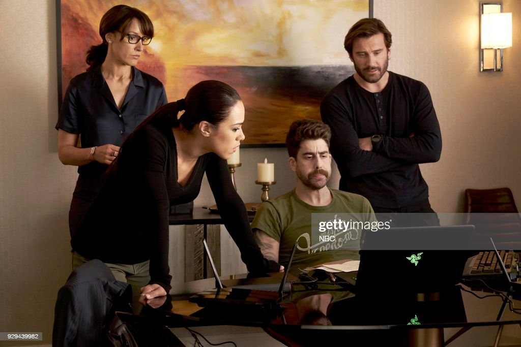 TAKEN -- 'Charm School' Episode 203 -- Pictured: (l-r) Jennifer Beals as Christina Hart, Jessica Camacho as Santana, Adam Goldberg as Kilroy, Clive Standen as Bryan Mills --