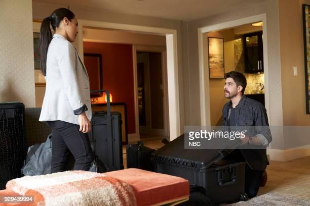 "Charm School"" Episode 203 -- Pictured: Jessica Camacho as Santana, Adam Goldberg as Kilroy --"
