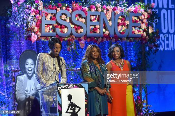 Charmaine Lewis Loretta Devine and Sheryl Lee Ralph speak onstage during the 2019 Essence Black Women in Hollywood Awards Luncheon at Regent Beverly...