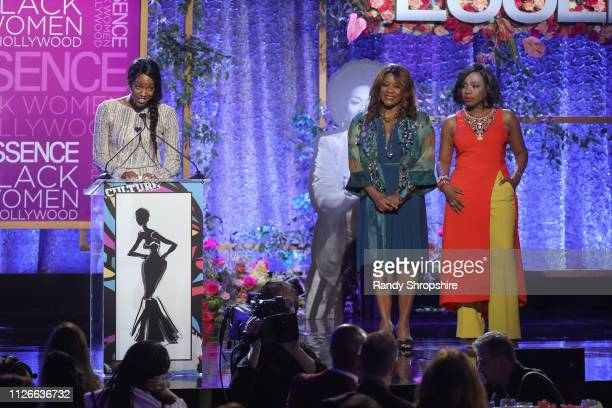 Charmaine Lewis Sheryl Lee Ralph and Loretta Devine speak onstage during the 2019 Essence Black Women in Hollywood Awards Luncheon at Regent Beverly...