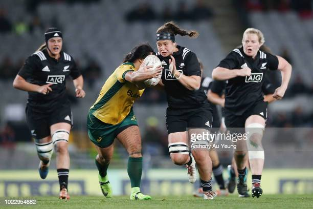 Charmaine McMenamin of New Zealand on the charge during the International Test match between the New Zealand Black Ferns and the Australia Wallaroos...