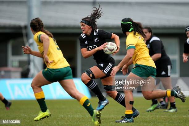 Charmaine Smith of New Zealand makes a break during the International Women's Test match between the New Zealand Silver Ferns and the Australian...