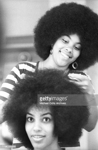 Charmaine Sylvers and Olympia Sylvers of the R and B group The Sylvers backstage at Caesar's Palace on June 9 1972 in Los Angeles California