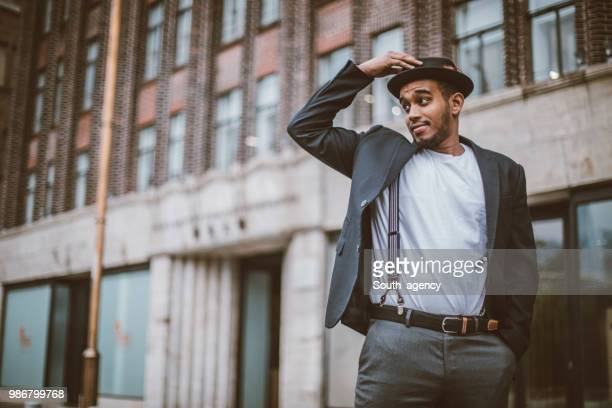 charming black guy - suspenders stock pictures, royalty-free photos & images
