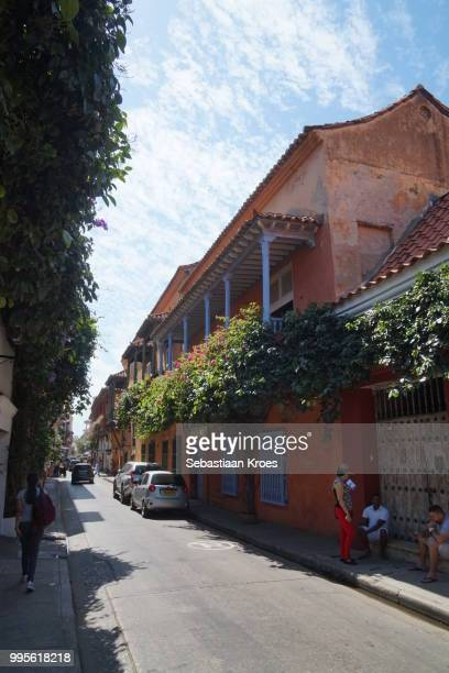 Charming city streets of Old Cartagena, Colombia