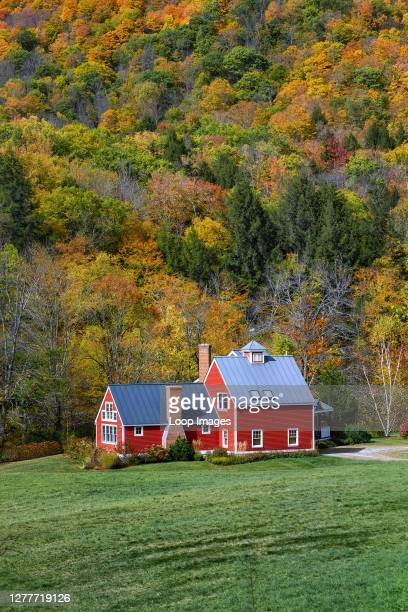 Charming red house flanked by autumn foliage at Bridgewater in Vermont.