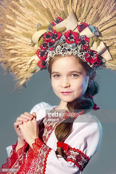 Charming Slavic Girl In Folk Style Headdress