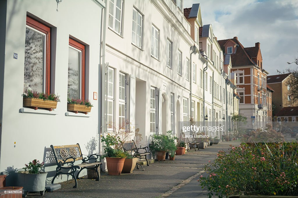 A charming street in the old town, Lübeck, Germany : Stock Photo