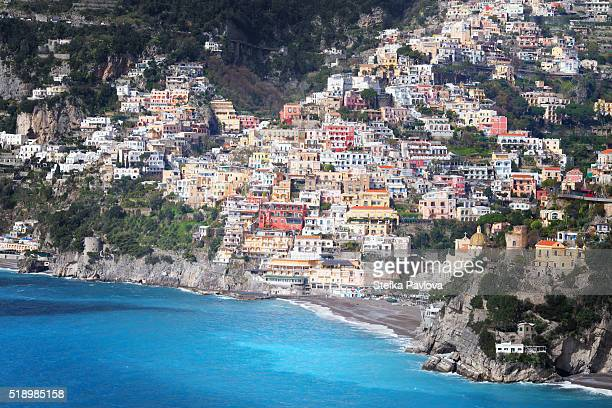 Charming view of coastal resort village of Positano, Italy