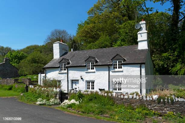 charming white stone cottage in the village of altarnun in cornwall england uk