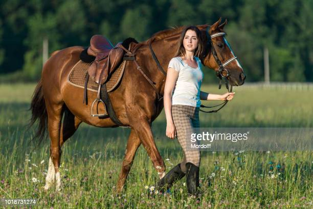 charming woman walks with her horse on meadow - dressage horse russia stock photos and pictures