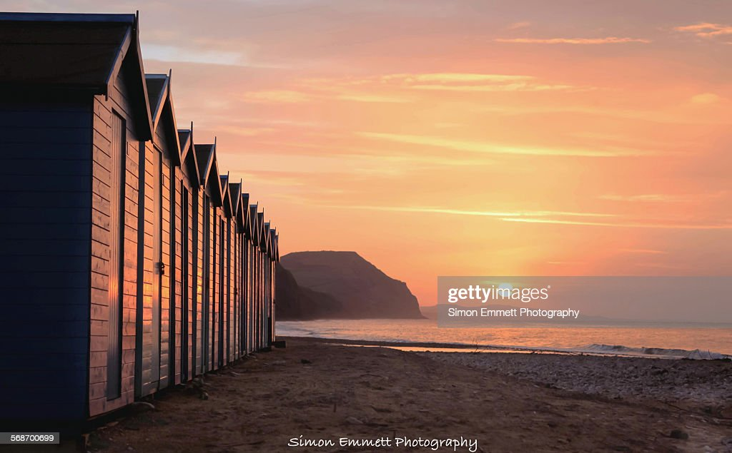 Charmouth/broadchurch beach huts : Stock Photo