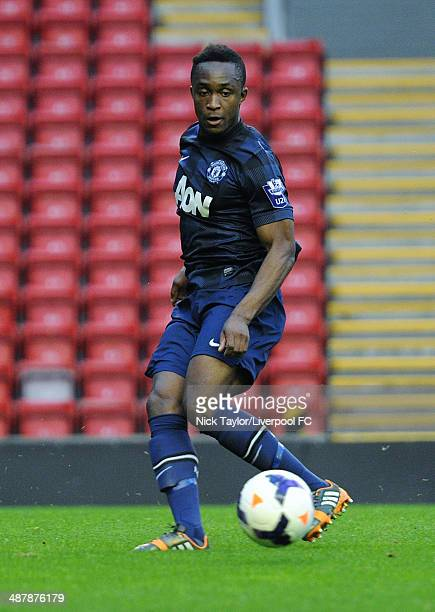 Charni Ekangamene of Manchester United in action during the Barclays U21 Premier League Semi Final fixture between Liverpool and Manchester United at...