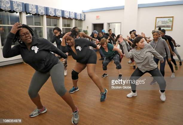 Charnice Charmant left and Chidinma Chichi Osuagwu codirectors of AfroBeats Dance Boston teach a class at the Alexander Magnolia Coop in the...