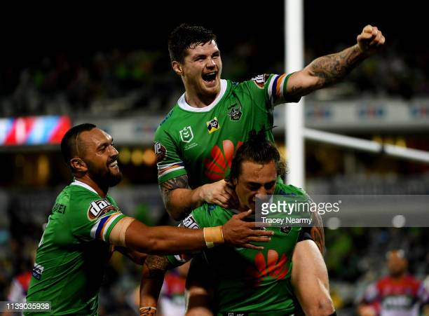 Charnze Nicoll-Klokstad of the Canberra Raiders scores a try during the round 3 Canberra Raiders and Newcastle Knights match at GIO Stadium on March...