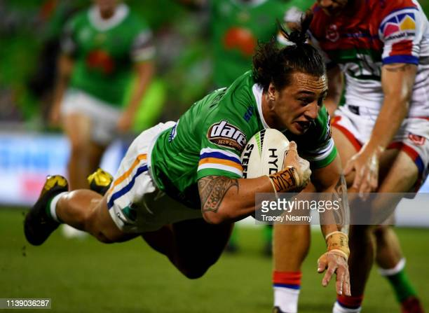 Charnze NicollKlokstad of the Canberra Raiders scores a try during the round 3 Canberra Raiders and Newcastle Knights match at GIO Stadium on March...